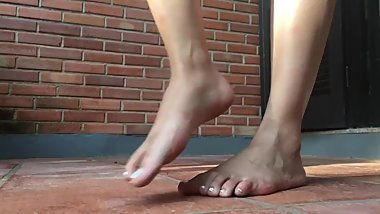 Brazilian girl parading her beautiful feet