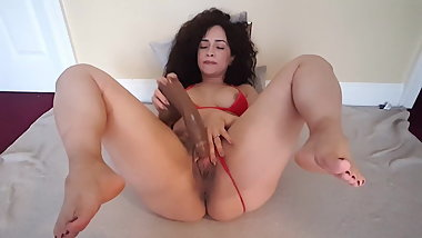 Thick Wifey Masturbating with Feet In Air