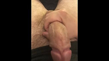 Stroking my thick, uncut, bwc