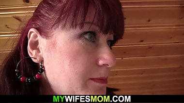 Brunette motherinlaw riding his cheating cock