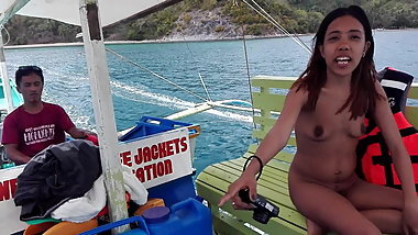 Filipino Naturist Couple .. nude boat trip