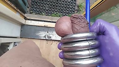 SISSY COCKRINGS HUGE DILDO ANAL LATEX GLOVES MASTURBATING PAINTED TOENAILS