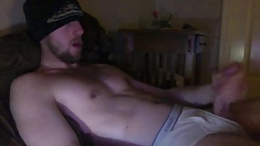 Dude Jerking off in his whitey tighties Self facial