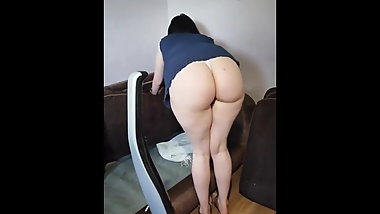 Huge Phat Ass in G-string Cleaning Couch (PAWG)