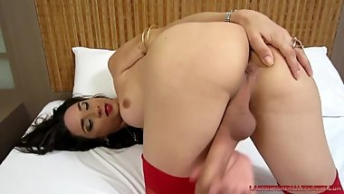 Brazilian Tgirl playing solo sex with her long TS cock