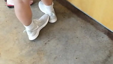 Beautiful teenage legs at Chipotle