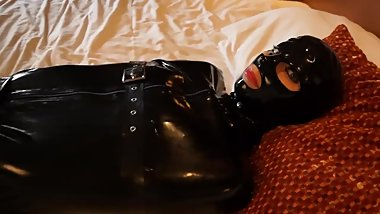Latex sleepsack and pump gag