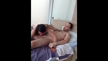 Wife chokes on deep throat BJ spunked in her throat