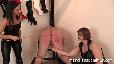 Lady G's Private Slave Spanked - Two Czech Mistresses