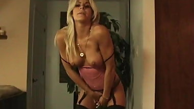 Wanking and farting in sexy lingerie