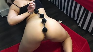 Extreme Anal and Squirt With Huge 15 Inch Anal Beads  Lexa Lite