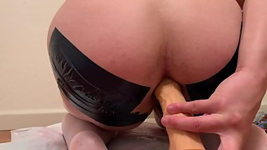 Anal dildo riding with spread cheeks