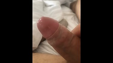 Playing with my creamy cock