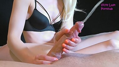 Petite teen blonde gives best edging handjob ever