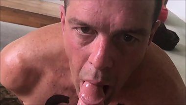 Slow Mo POV of slave gee sucking cock