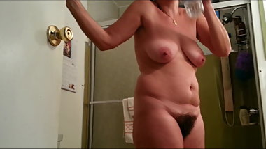 Voyeured Mature Wife Thick Nipples and Bush