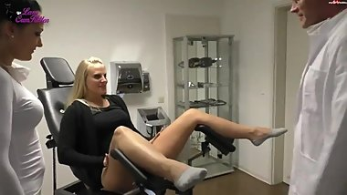 Nurse blows doctor in gloves Lara creampie