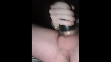 Big cock fucks fleshlight