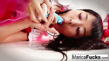 Sexy Asian Marica uses a glass toy on her wet pussy
