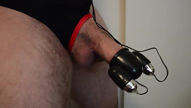 Stretching my cock with lifting, squeezing, throbbing, and shooting cum
