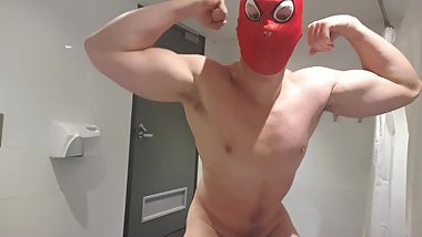 Spiderman shows off his dick and muscles then casts his web - comment 4 me