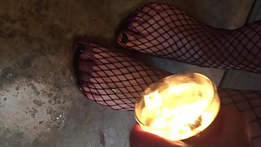 Foot Torture Pt. 3 - Candle Play w/ stockings (I say my safeword)