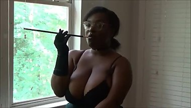 Beautiful Ebony Buxxom Rose Smoking Fetish