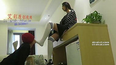 Chinese student knee high socks humiliated teacher