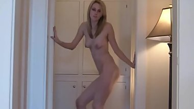 Blonde Girlfriend Dancing Naked In The Hall
