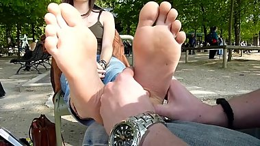 French Girl Soles Public Massage