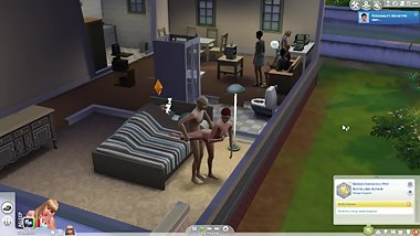 Old Guy Screws Young Redhead At House Party (Sims 4)