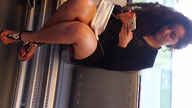 Arab beauty on the train - sexy legs and feet - curly hair