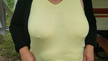 Big natural tits wife teasing in sheer top