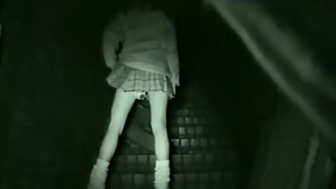 Japan School girl have a private sex at public steps night time