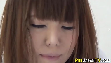 Japanese ho pees thru panties and on floor