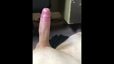 Playing with big hard cock