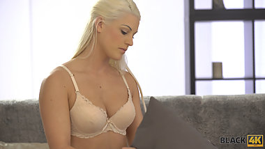 BLACK4K. Blonde colleen is happy to suck huge cock and get