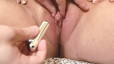 BBW Milf GF Gets her Bald Pink Pussy & Huge Clit Teased until She Cums Hard