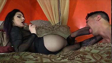 Femdom Sheer Pantyhose Foot Fetish Worship and Gagging
