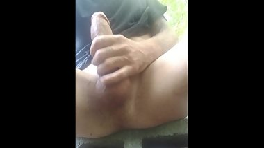 Outdoor public big white cock stroking. Hoping a random person walks up
