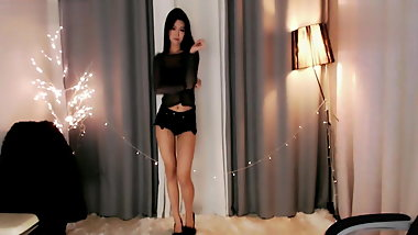 Sexy japanese girl in black dress
