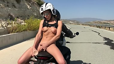 Crazy chick cumming on the bike