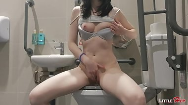 Masturbation my Teen Pussy in the Toilet while Waiting for my Boyfriend