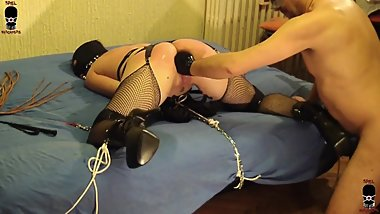 Brutal pussy fisting and ass fucking tied and whipped slut - INTRO
