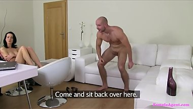 Horny Couple Have Threesome With Female Agent