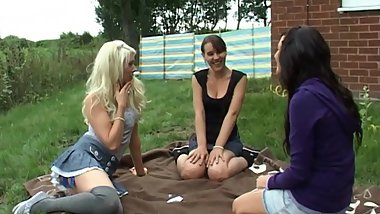 Bex, Debz & Charlotte play Strip Obey outdoors