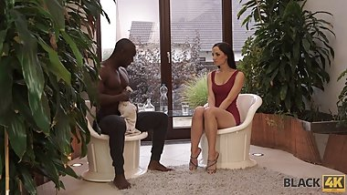 BLACK4K. Awesome interracial sex in the gym where white lass