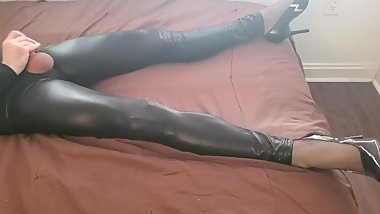 Crossdresser Jerking off in Latex Leggings and High Heels