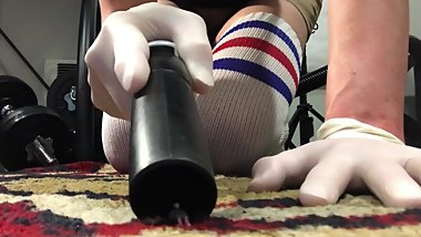 Tiny Peril: Unaware giantess in latex gloves and thigh highs vacuuming