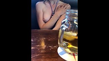 Julia flashing her titties at the bar